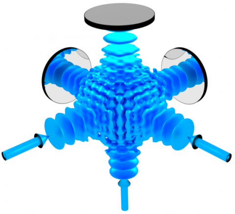 3D lattice structure formed by retro-reflecting three laser beams